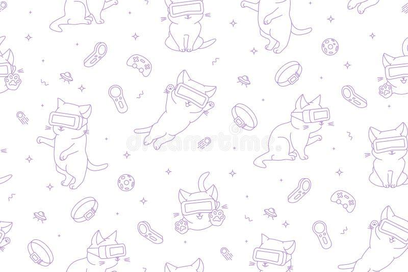 Zwart-wit naadloos patroon met leuke katten met VR-apparaten in een virtuele ruimte stock illustratie