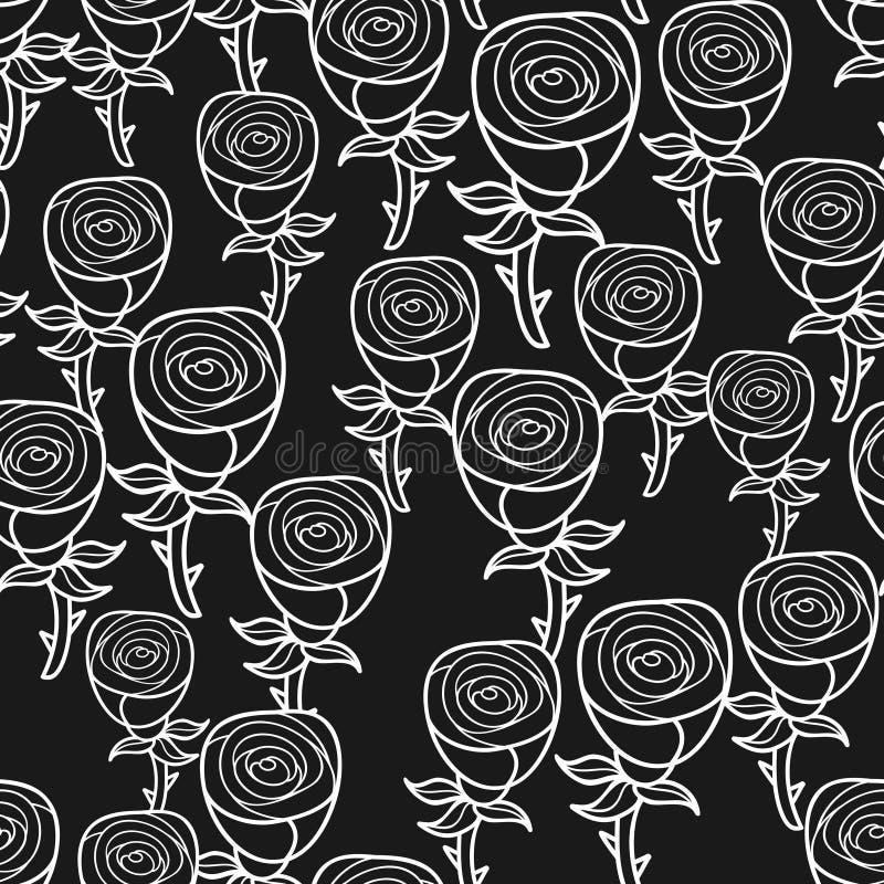 Zwart-wit naadloos patroon met romantische bloemenknoppen stock illustratie
