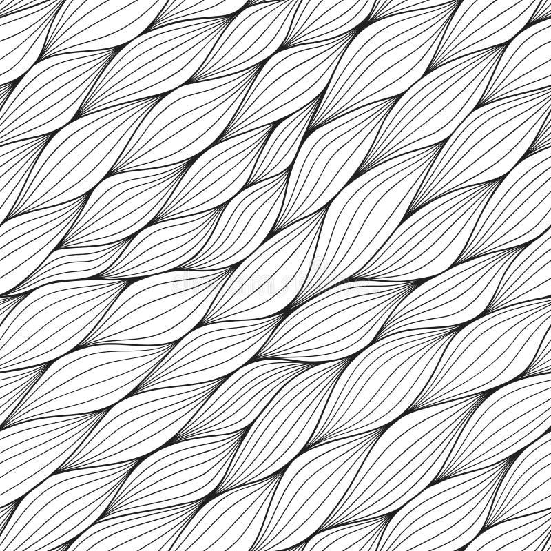 Zwart-wit naadloos patroon met samenvatting gekrulde golven Golvende zwart-witte achtergrond Vectorgolftextuur royalty-vrije illustratie