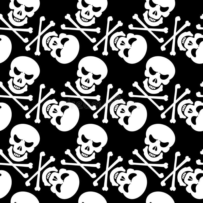 Zwart-wit naadloos patroon met schedels royalty-vrije illustratie