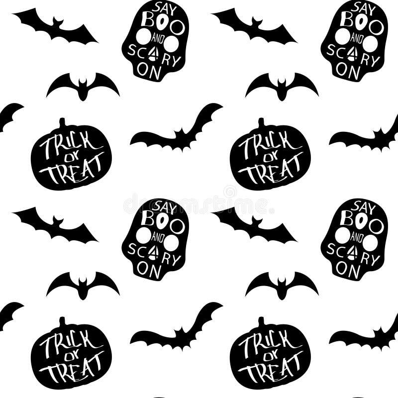 Zwart-wit naadloos patroon met silhouet van knuppel en schedel stock illustratie