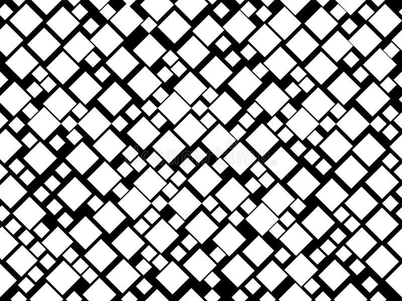Zwart-wit naadloos patroon met vierkanten Modern patroon voor decoratie Vector vector illustratie