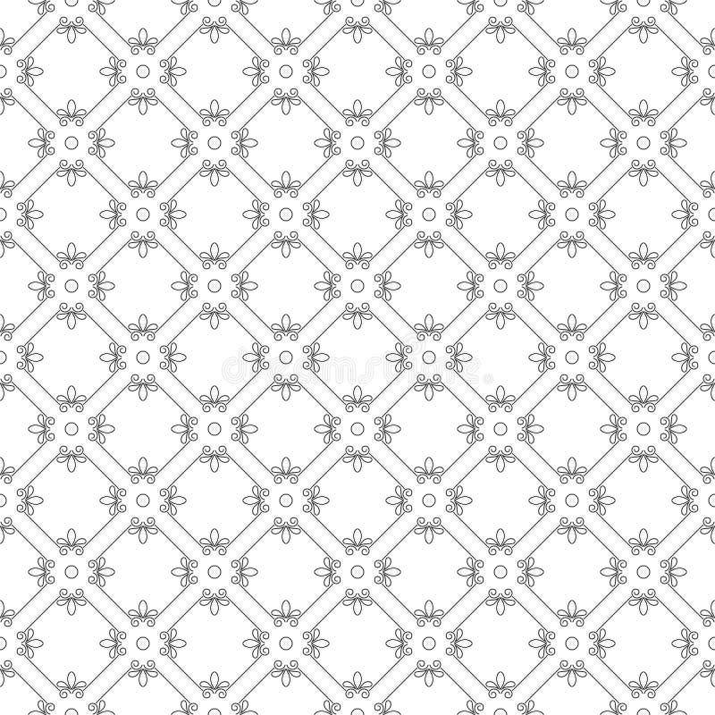 In zwart-wit naadloos patroon met wervelingen stock illustratie