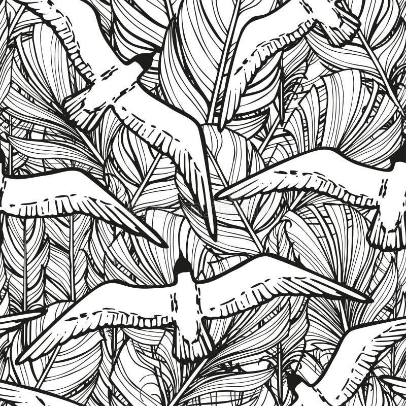 Zwart-wit naadloos patroon van hand getrokken veren van vogels en vliegende zeemeeuwen stock illustratie