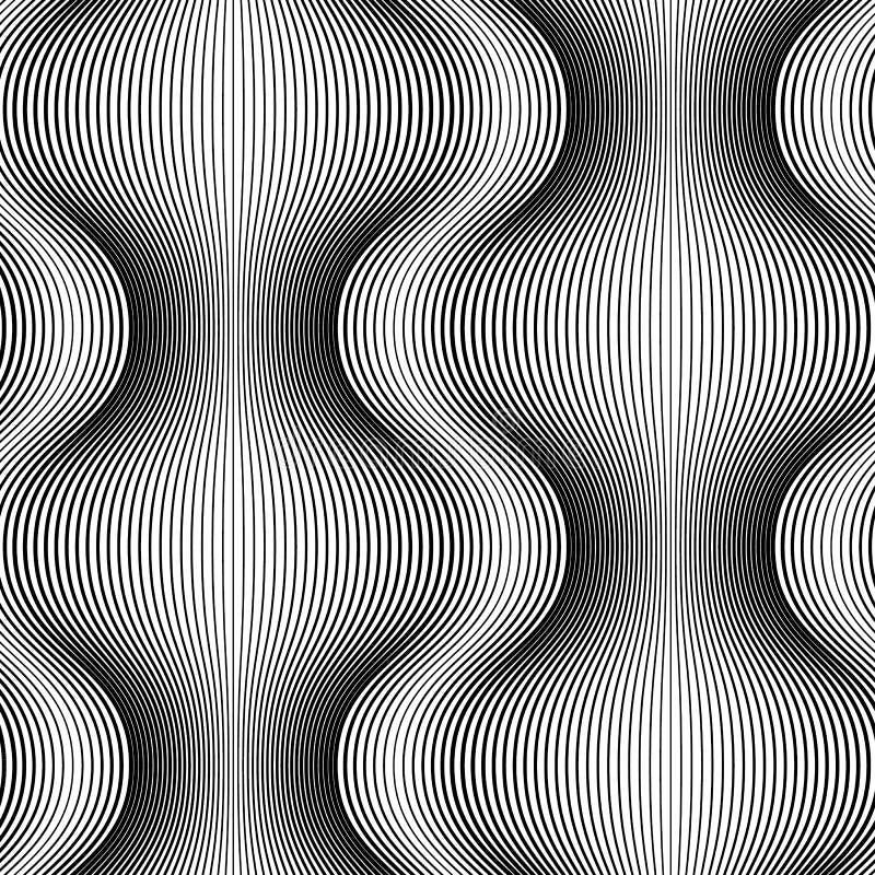 Zwart-wit naadloos patroon van lijnen abstracte achtergrond royalty-vrije illustratie