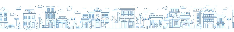 Zwart-wit naadloos stedelijk landschap met stadsstraat of district Cityscape met woondiehuizen en winkels worden getrokken met stock illustratie