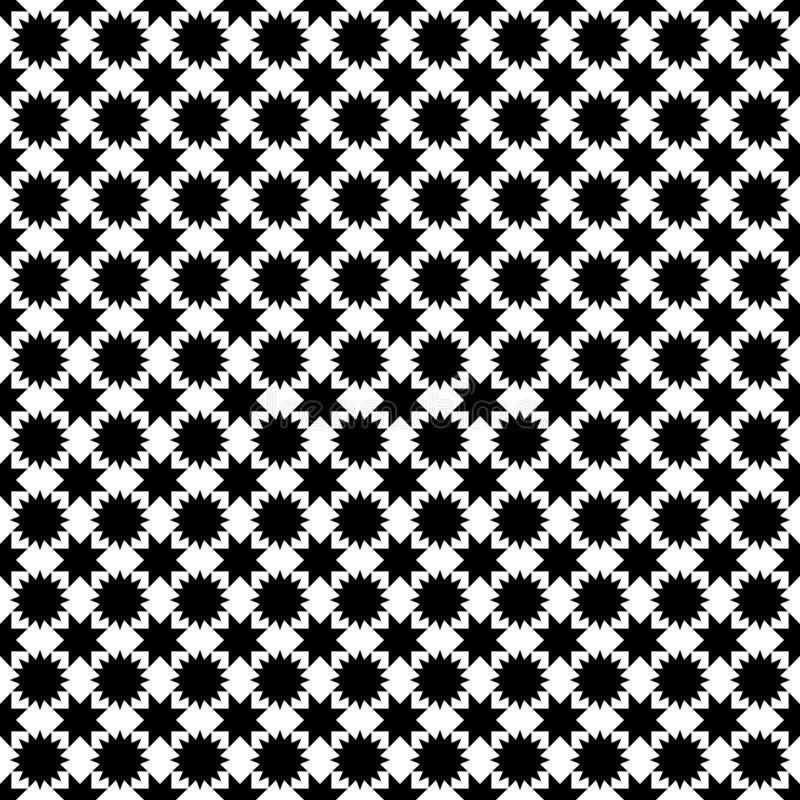 Zwart-wit naadloos sterpatroon - geometrisch zwart-wit vectorontwerp als achtergrond vector illustratie