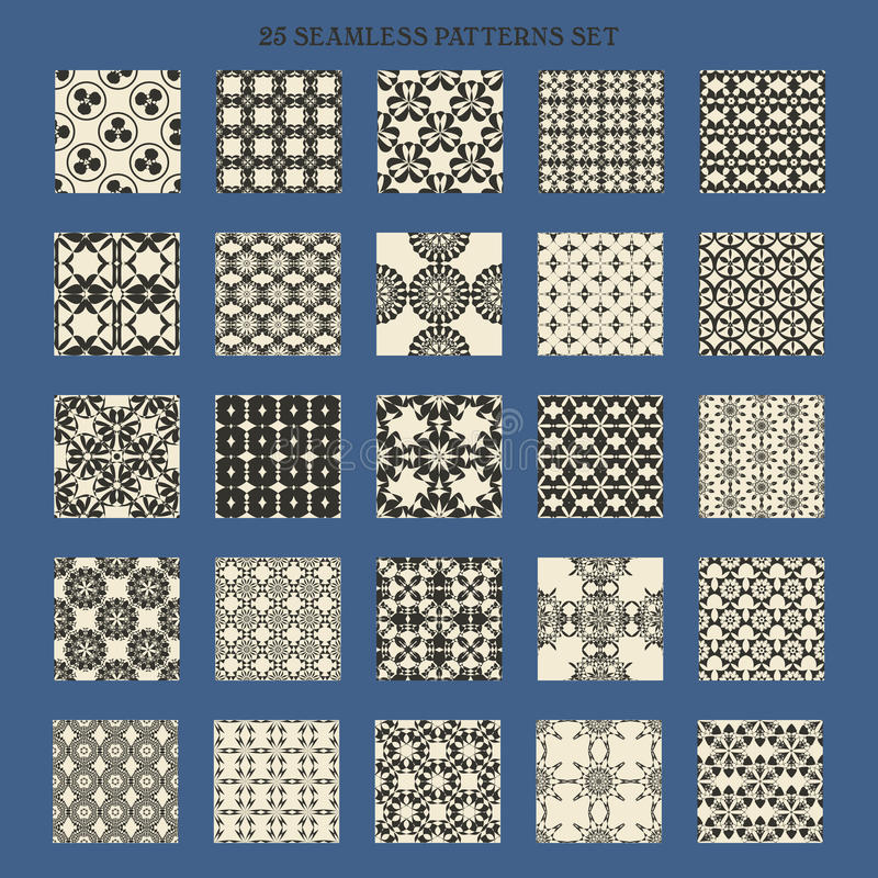 25 zwart-wit naadloze patroonreeks Vijfentwintig stock illustratie