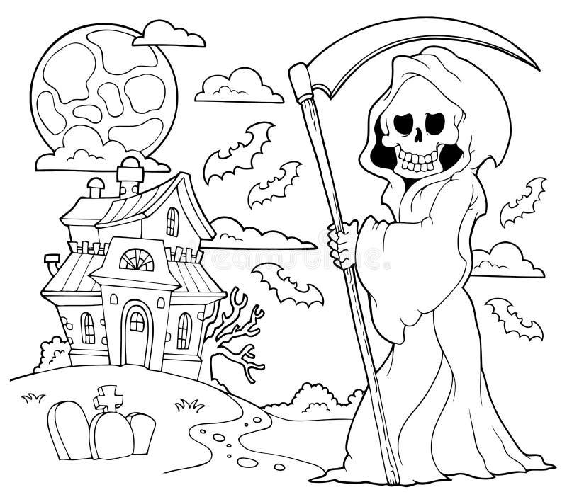 Zwart-wit onverbiddelijk maaimachinethema 2 stock illustratie