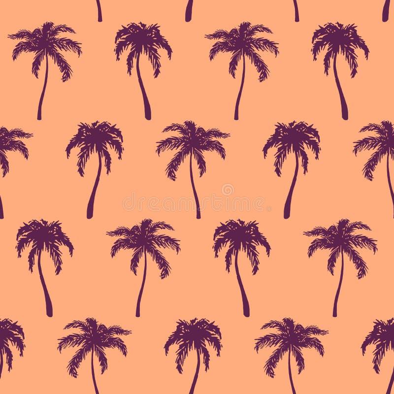 Zwart-wit oranje violette tropische getrokken palmhand stock illustratie