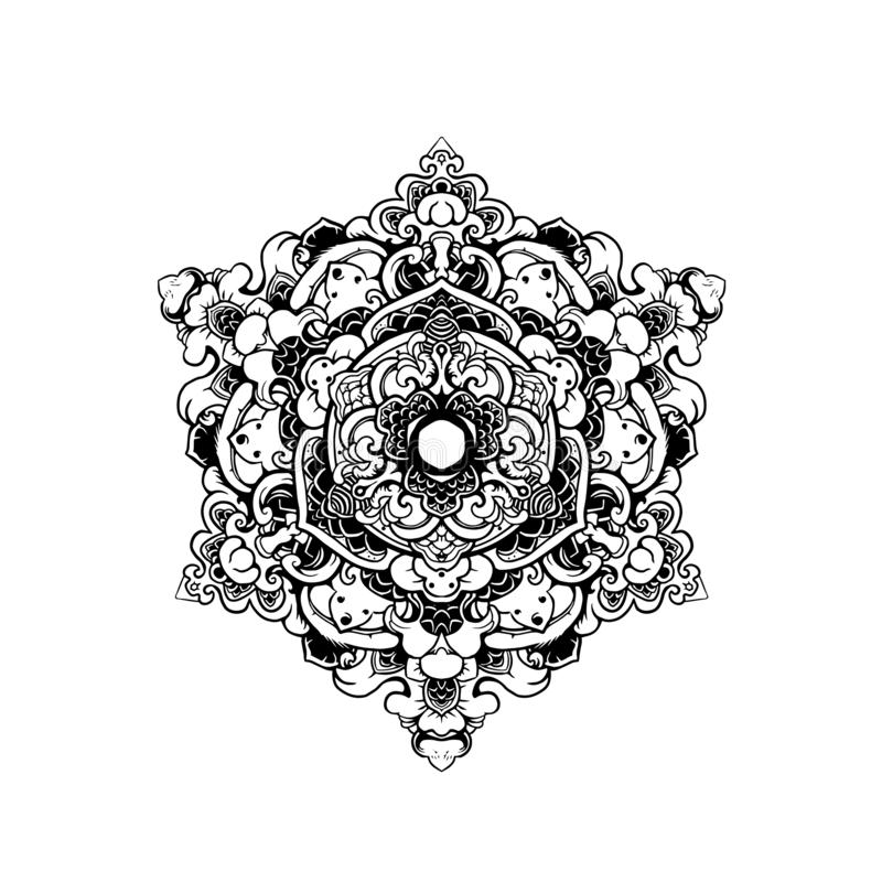 ZWART WIT ORNAMENT MANDALA royalty-vrije illustratie