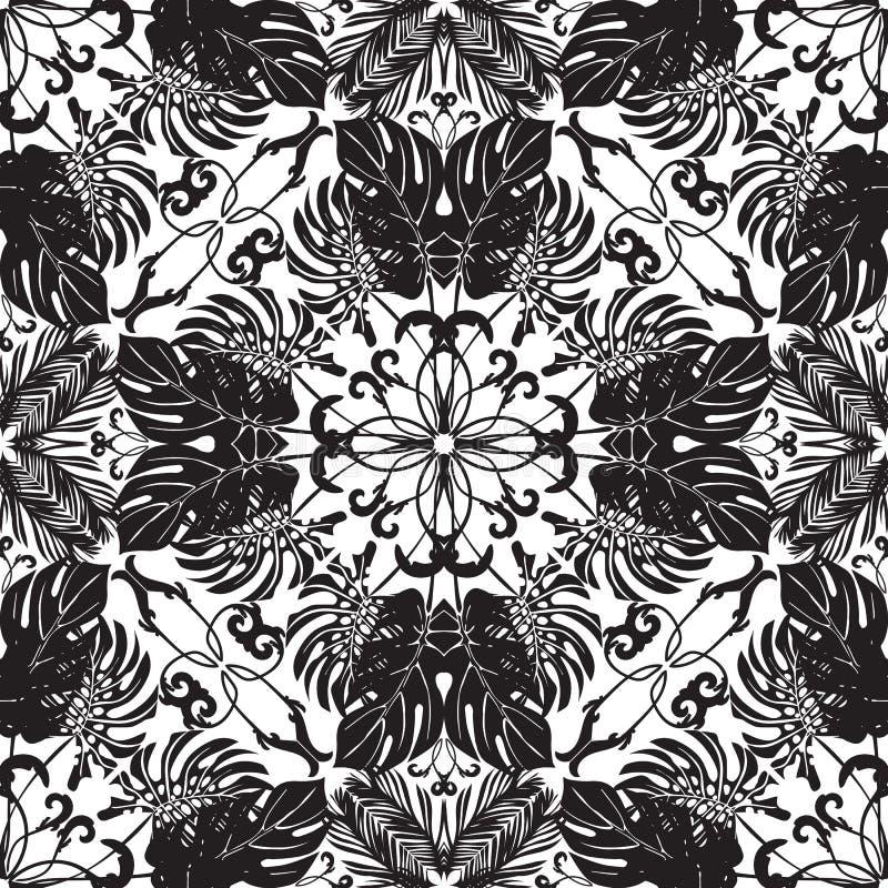 Zwart-wit palmbladen vector naadloos patroon stock illustratie