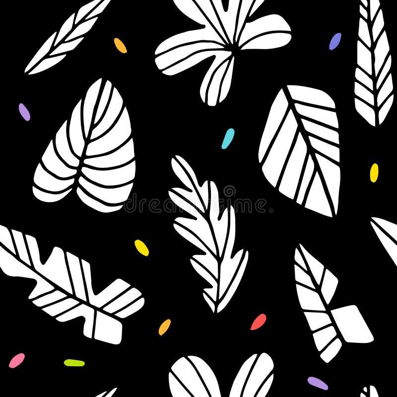 Zwart-wit palmbladenpatroon royalty-vrije illustratie