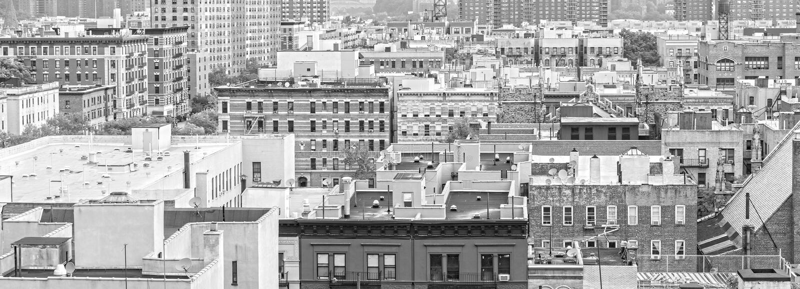 Zwart-wit panorama van Harlem en Bronx, New York royalty-vrije stock foto