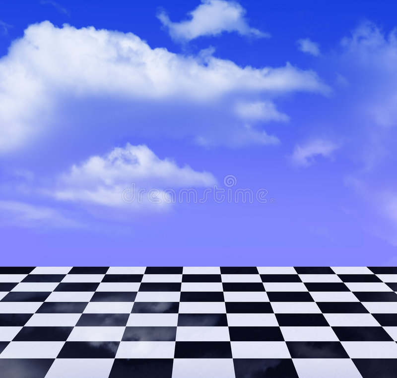 Zwart-wit patroon en blauwe hemel stock illustratie