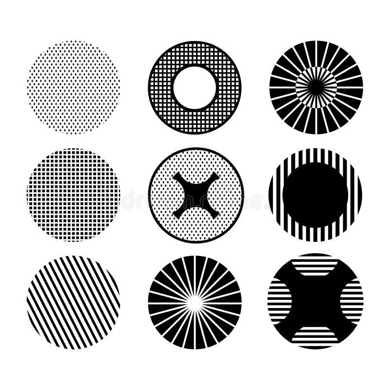 Zwart-wit patroon met cirkels reeks stock illustratie