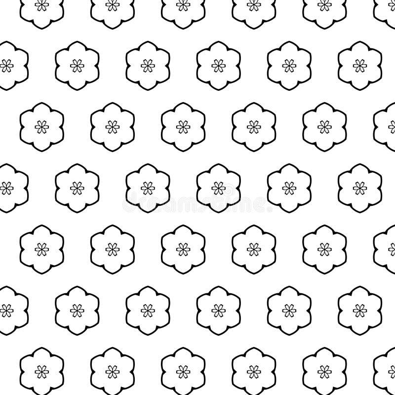 Zwart wit patroon met moderne abstracte ornamenten stock illustratie