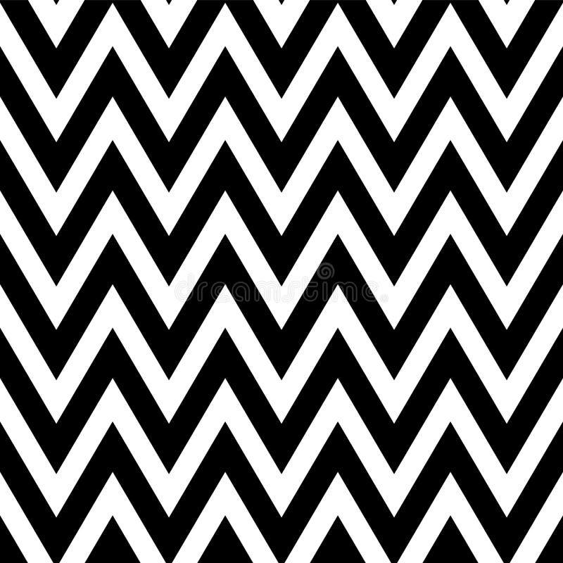 Zwart-wit patroon in zigzag Klassiek chevron naadloos patroon stock illustratie