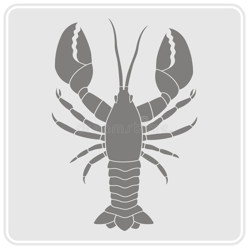 Zwart-wit pictogram met zeekreeft stock illustratie
