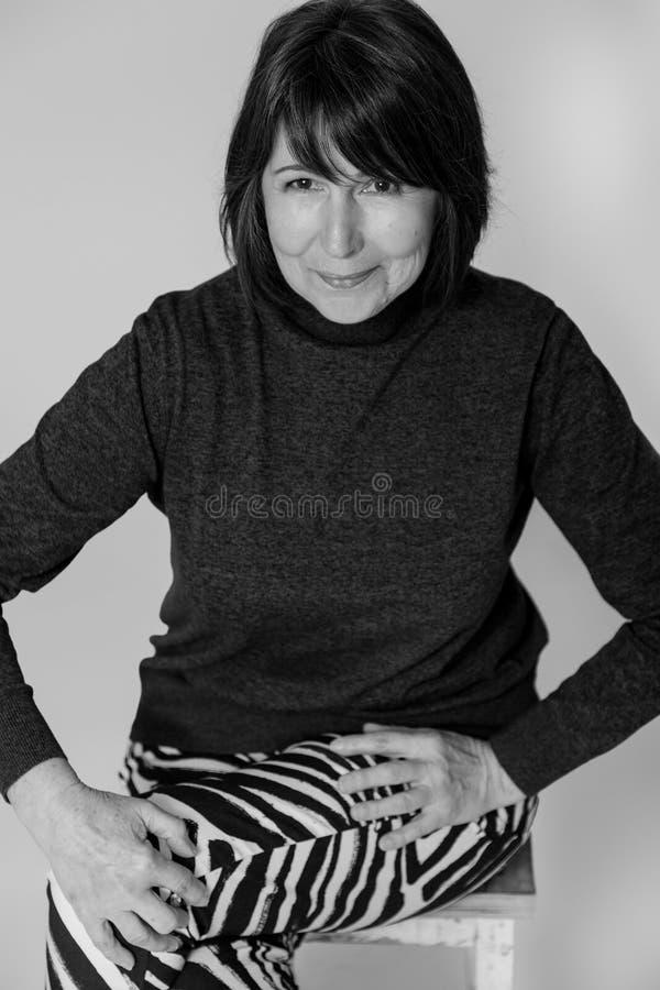 Zwart-wit portret Moed en dorst voor het leven op om het even welke tijd stock afbeeldingen