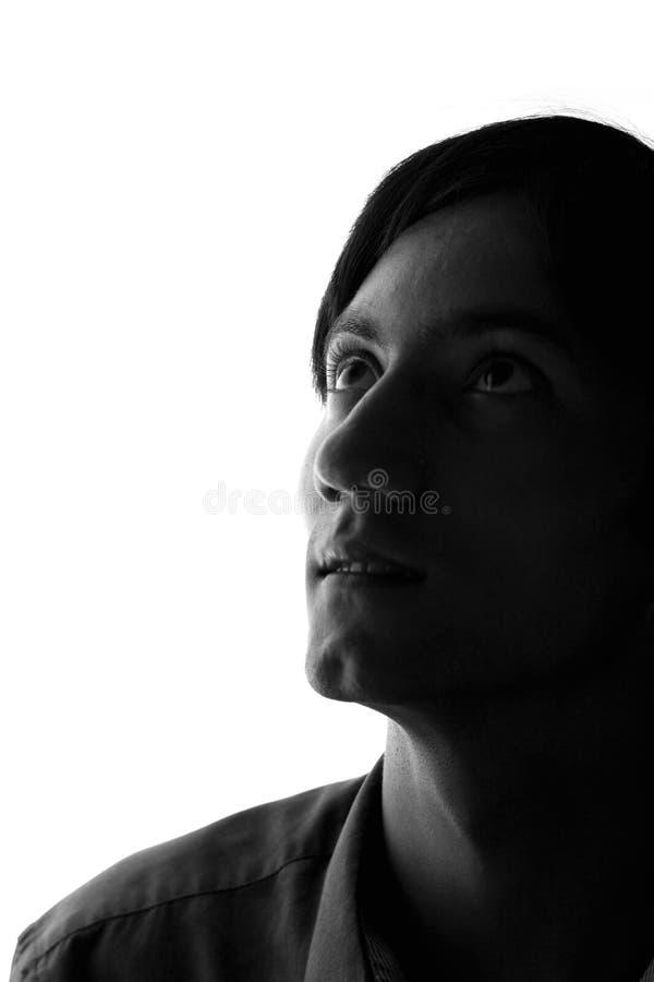 Zwart-wit portret van een droevige mens stock fotografie