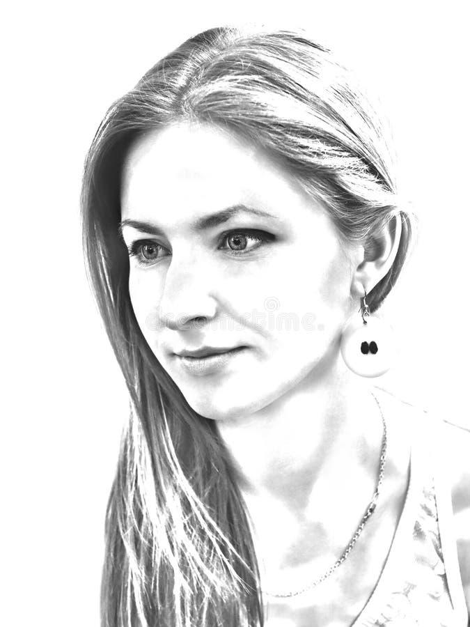 Zwart-wit portret van een jong sensueel meisje stock afbeelding