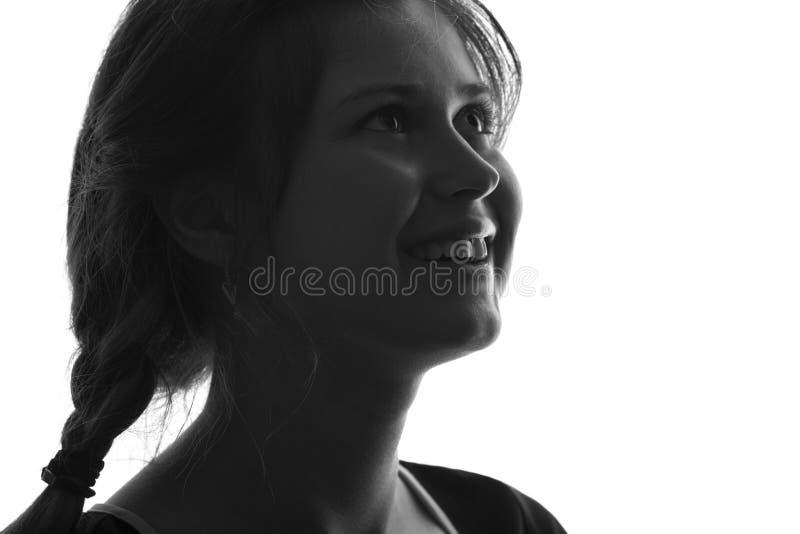 Zwart-wit portret van een profiel van een vrouw royalty-vrije stock afbeelding