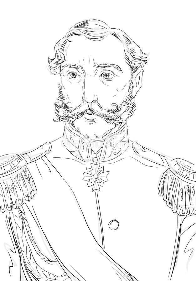Zwart-wit portret van een uitstekende edele heer vector illustratie