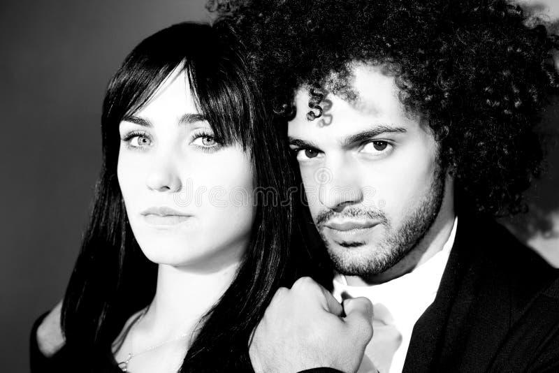 Zwart-wit portret van mannequins die close-up kijken stock afbeelding