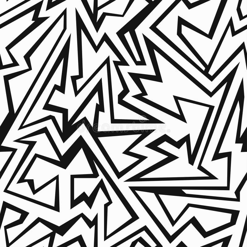 Zwart-wit puin naadloos patroon royalty-vrije illustratie
