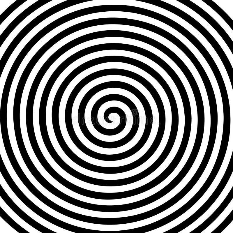 Zwart wit rond abstract draaikolk hypnotic spiraalvormig behang vector illustratie