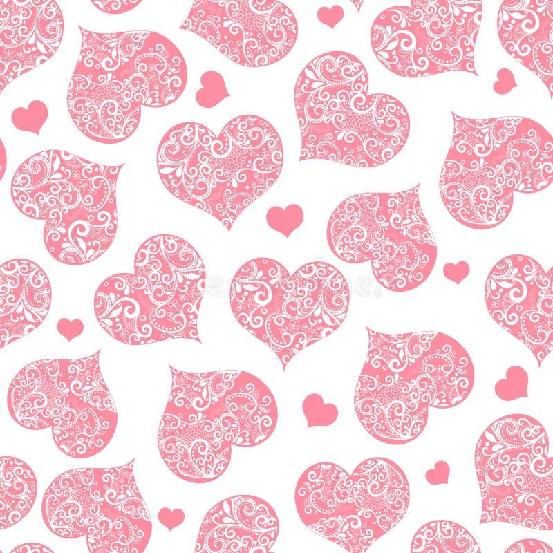 Zwart-wit roze naadloos valentijnskaartpatroon op transparante achtergrond vector illustratie