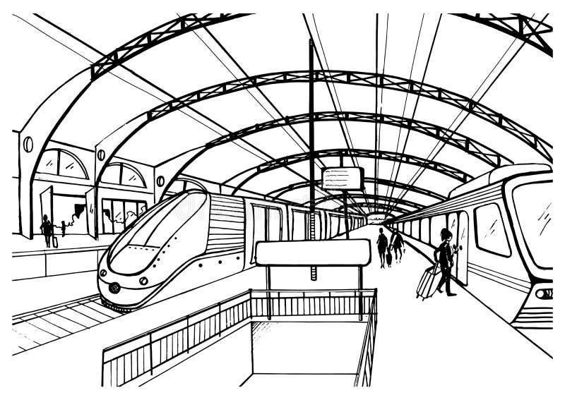 Zwart-wit schets met station Zwart-witte illustratie met moderne snelle treinen en passagiers Getrokken hand stock illustratie