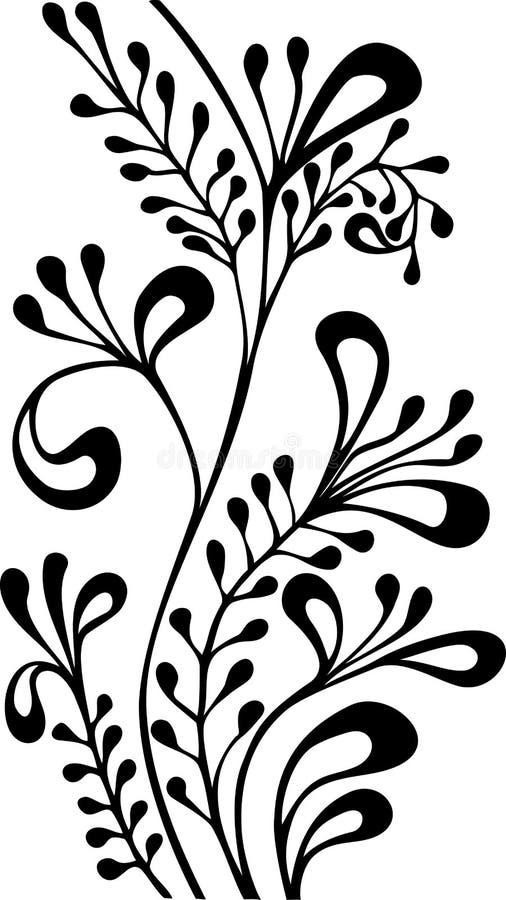 Zwart-wit sier vectorornament stock fotografie