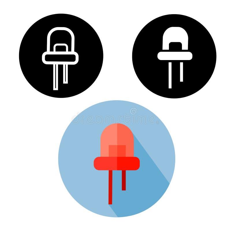 Zwart, wit silhouet en rode vlakke infrarode LEIDENE gemakkelijke editable pictogrammen royalty-vrije illustratie