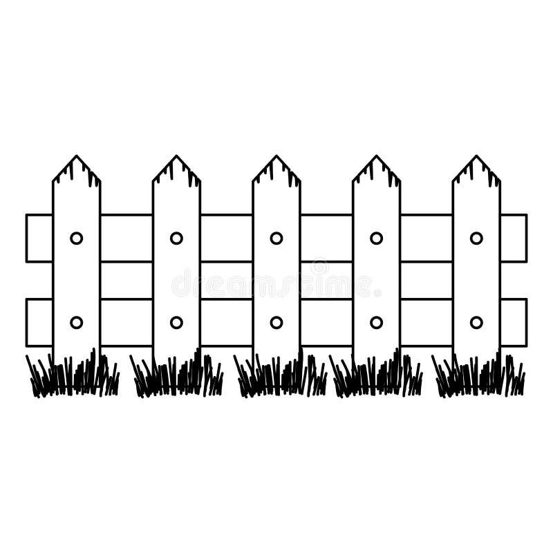 Zwart-wit silhouet van houten omheining en weide vector illustratie