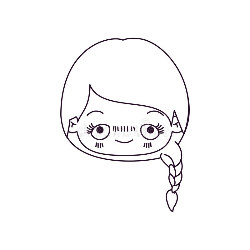 Zwart-wit silhouet van kawaii hoofd leuk meisje met gevlecht haar en pijnlijke gelaatsuitdrukking vector illustratie