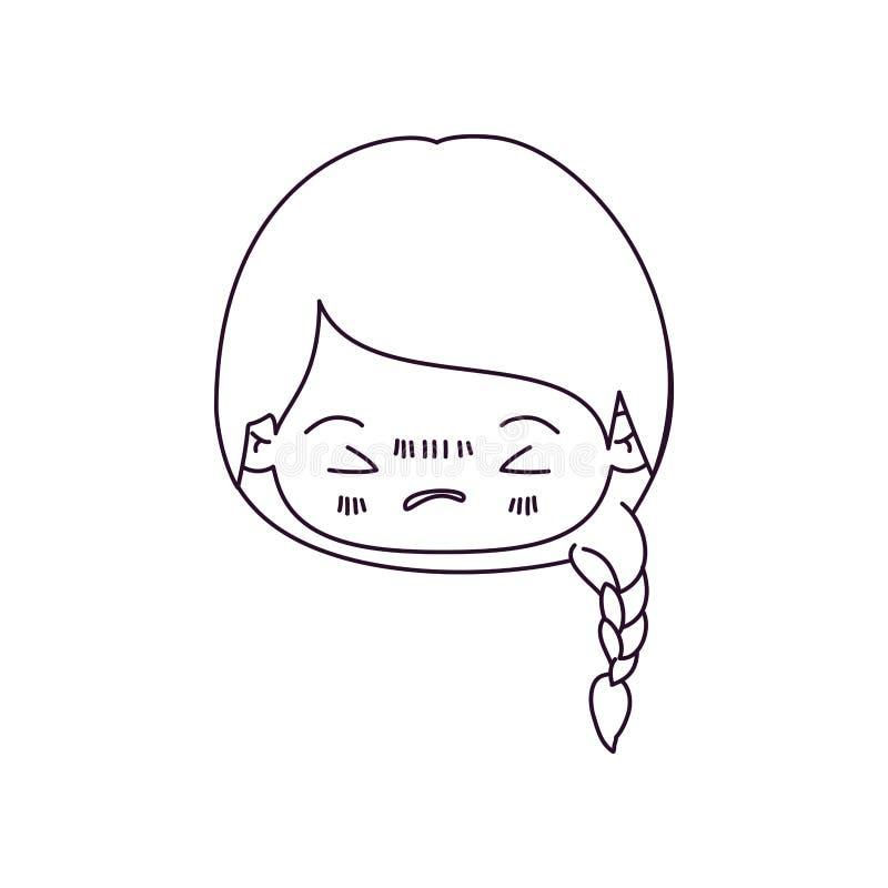 Zwart-wit silhouet van kawaii hoofdmeisje met gevlecht haar en gelaatsuitdrukking boos met gesloten ogen royalty-vrije illustratie