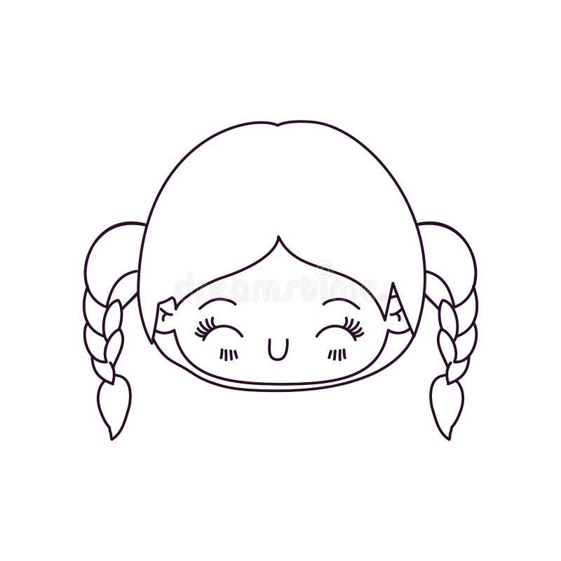 Zwart-wit silhouet van kawaii hoofdmeisje met gevlecht haar en gelaatsuitdrukkinggeluk met gesloten ogen royalty-vrije illustratie