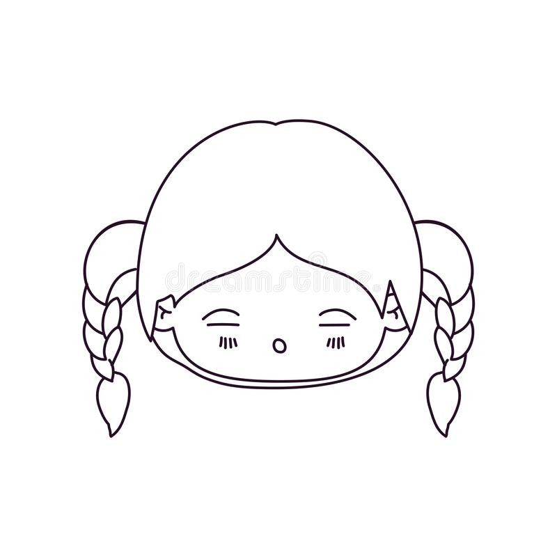 Zwart-wit silhouet van kawaii hoofdmeisje met gevlecht haar en vermoeide gelaatsuitdrukking stock illustratie
