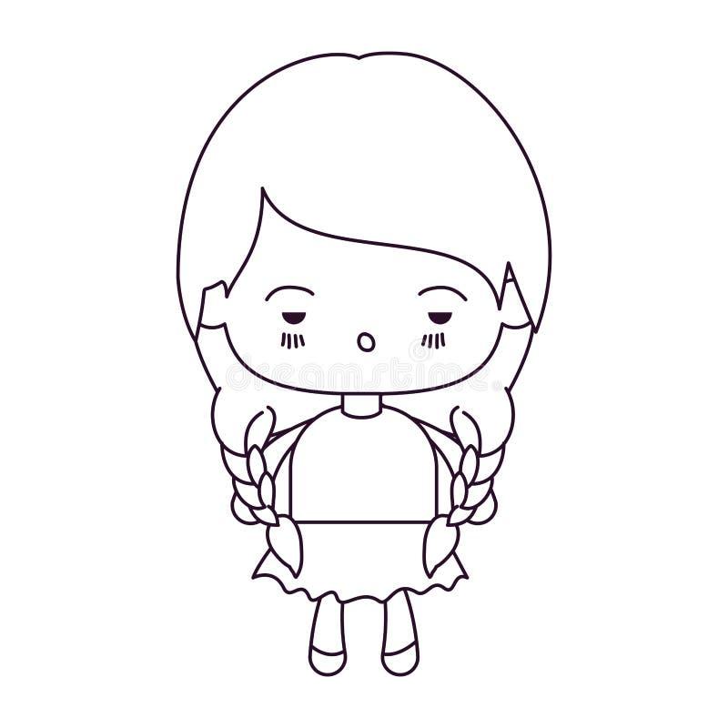 Zwart-wit silhouet van kawaiimeisje met gevlecht haar en gedeprimeerde gelaatsuitdrukking royalty-vrije illustratie