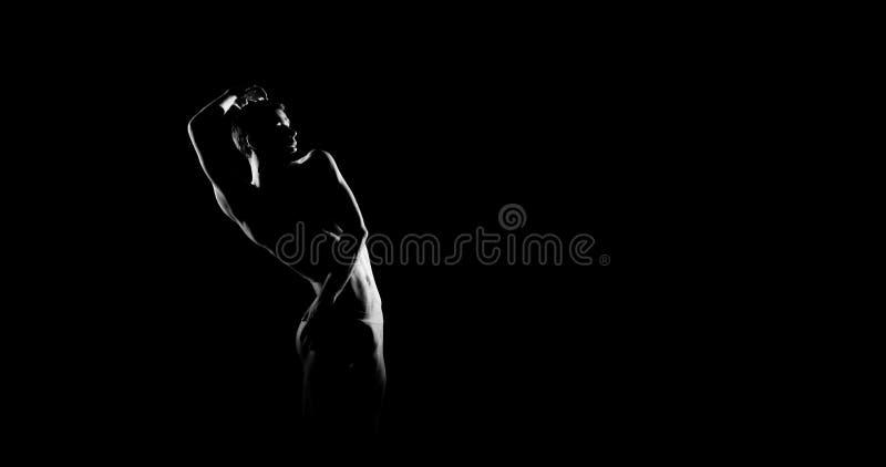 Zwart-wit silhouet van mannelijke balletdanser Snak monochrom horizontaal beeld royalty-vrije stock fotografie
