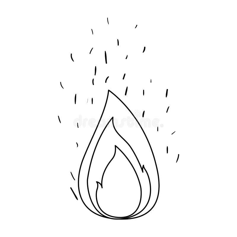 Zwart-wit silhouet van vlam en brandvonken stock illustratie