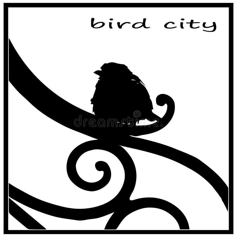 Zwart wit silhouet, vogelbeeld, Muszitting op de omheining van de stadstuin royalty-vrije illustratie