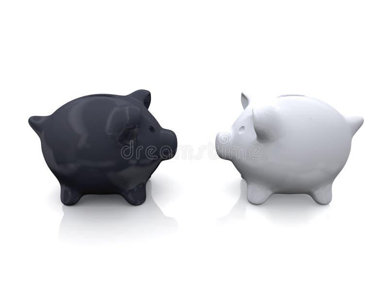 Zwart-wit Spaarvarken stock afbeelding