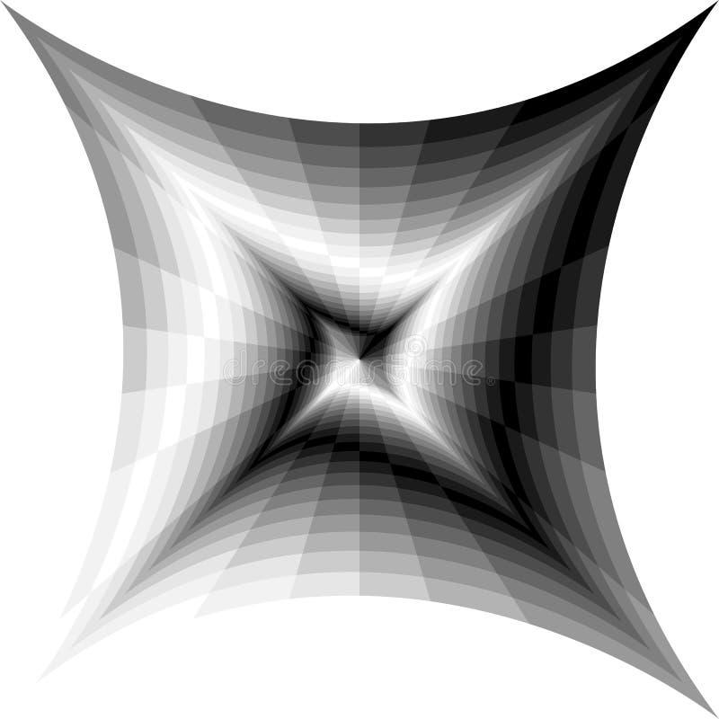 Zwart-wit Spiralen van Concave Rechthoeken die zich van het Centrum uitbreiden Optische illusie van Perspectief en Volume vector illustratie