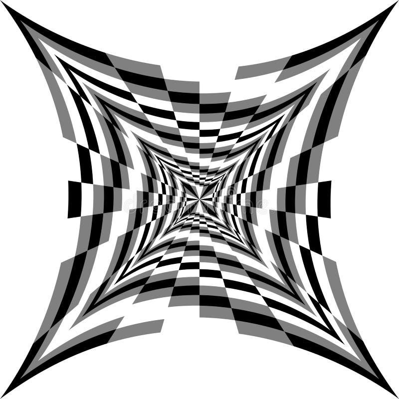 Zwart-wit Spiralen van Concave Rechthoeken die zich van het Centrum uitbreiden Optische illusie van Volume en Diepte royalty-vrije illustratie