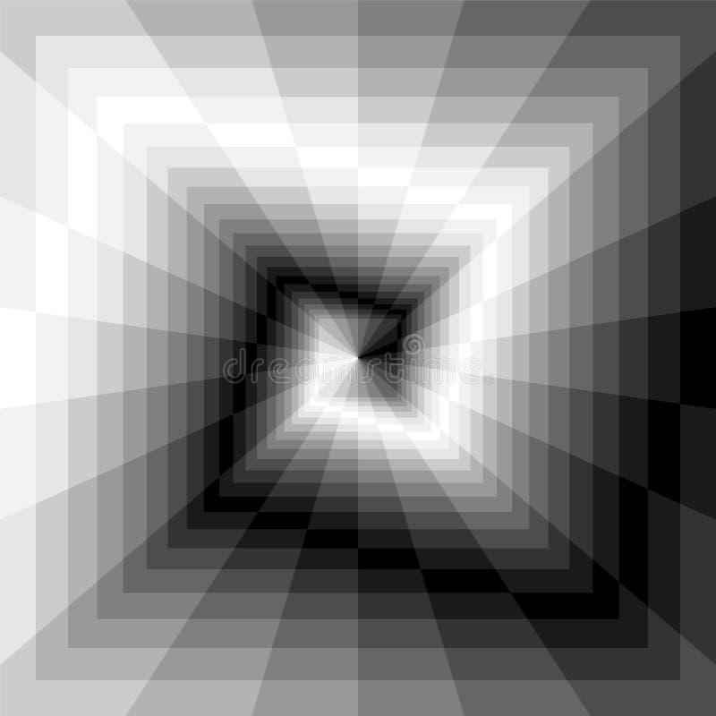 Zwart-wit Spiralen van de Rechthoeken die zich van het Centrum uitbreiden royalty-vrije illustratie