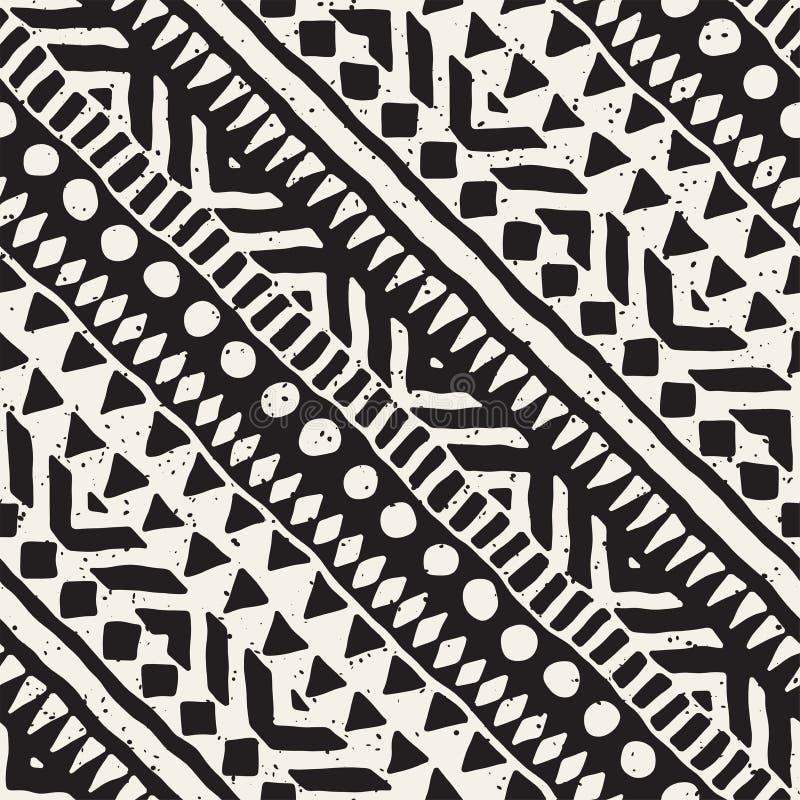 Zwart-wit stammen vector naadloos patroon met krabbelelementen Azteekse abstracte kunstdruk Etnische sierhand royalty-vrije illustratie