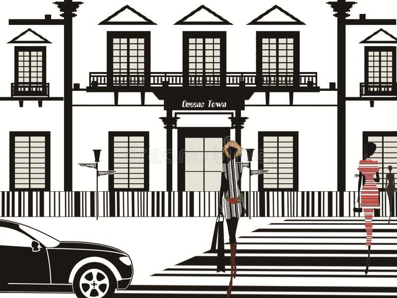 Zwart-wit Streepjescodeontwerp damequeens stad stock foto